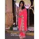 Kmozi Priyanka Bridal Collection Saree, neon pink
