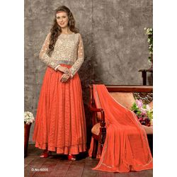 Kmozi Russell Net Fabric Anarkali Suits, orange