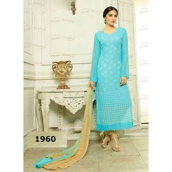 Kmozi Pure Chiffon Heavy Embroidery Work Dress Material, blue
