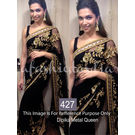 Kmozi Dipika Metal Queen Fancy Designer Saree, black