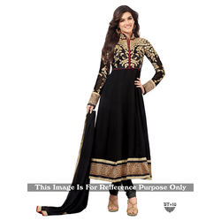 Kmozi Designer Fancy Anarkali Suit, black