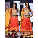 Kmozi Bollywood Neha Dhupiya Lehenga, orange