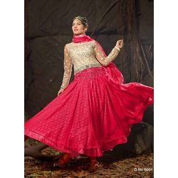 Kmozi New Arrival Russell Net Long Anarkali Suit, red