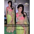 Kmozi Bollywood Replica Shreya Jhalak Saree, neon parrot light