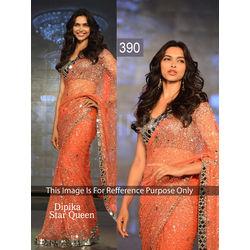 Kmozi Dipika Star Queen Designer Saree, orange