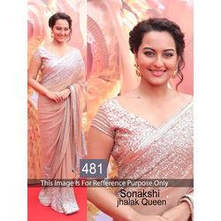 Kmozi Sonaxshi Jhalak Queen Design Saree, light pink