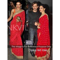 Kmozi Dipika Rose Stylist Saree Online, red