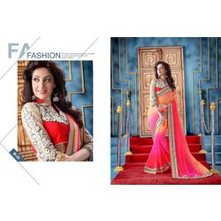 Kmozi New Latest Shade Fancy Saree, pink