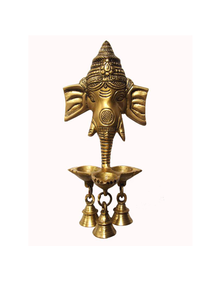 Aesthetic Decors Wall Hanging Three Diya Oil Lamp in Gold Polish Showpiece - 25 cm