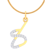 NUMBER PENDANT (LJNP511), 14k, ef-vvs, yellow rose white