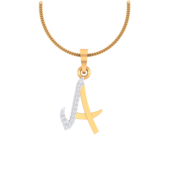 ALPHABET PENDANT (LJAP401), 18k, hi-vs/si, yellow rose white
