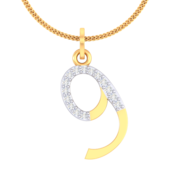 NUMBER PENDANT (LJNP512), 14k, ef-vvs, yellow rose white