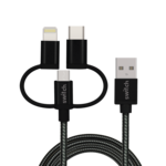 SWITCH 3 IN 1 MICRO TYPE C MFI LIGHTNING CHARGE AND SYNC CABLE BLACK, 1.8m