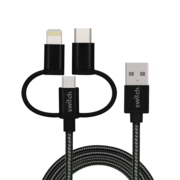 SWITCH 3 IN 1 MICRO TYPE C MFI LIGHTNING CHARGE AND SYNC CABLE BLACK, 1.2m