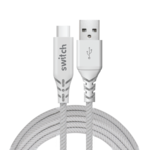SWITCH ULTRA RUGGED USB A TO TYPE C CHARGE & SYNC CABLE,  white, 1.2m