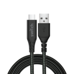 SWITCH ULTRA RUGGED USB A TO TYPE C CHARGE & SYNC CABLE BLACK, 1.8m