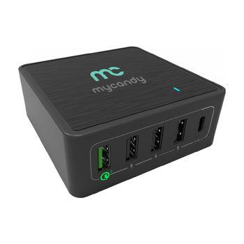 MYCANDY 60W 5 PORT USB AND TYPE C DESKTOP CHARGER,  black
