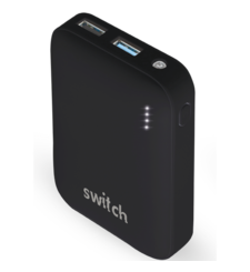 SWITCH POWER BANK 10K MAH RUBBER FINISH,  black