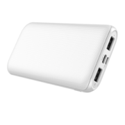 MYCANDY 10K MAH SLIM DUAL USB OUTPUT AND TYPE C INPUT/OUTPUT POWERBANK,  white
