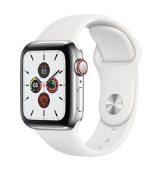 APPLE WATCH SERIES 5 GPS CELLULAR 40MM SILVER ALUMINIUM CASE WITH WHITE SPORT BAND