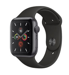 APPLE WATCH SERIES 5 44MM SPACE GREY ALUMINIUM CASE WITH BLACK SPORT BAND