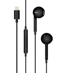 MYCANDY IN EAR STEREO HEADPHONE WITH LIGHTNING CONNECTOR SH04,  black