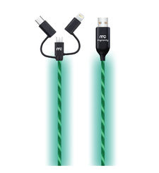 MYCANDY NEON FLO 3 IN 1 CHARGE AND SYNC CABLE 1M,  green