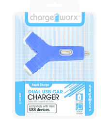 Charge Worx Dual USB Y Shape Car Charger,  Pink