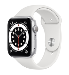 APPLE WATCH SERIES 6 GPS,  silver aluminium white sport band, 44mm