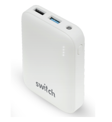 SWITCH POWER BANK 10K MAH RUBBER FINISH,  white