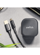 SWITCH 5.4A PREMIUM DUAL USB WALL CHARGER WITH QC 3.0 QUICKCHARGE AND 1.2M TYPE-C CABLE BLACK