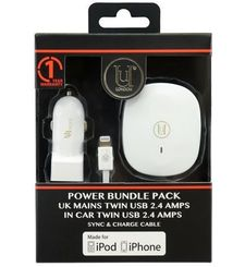 UUNIQUE MFI UK CAR CHARGER TWIN CABLE 2.4A WHITE