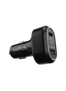 SWITCH DUAL CAR CHARGER QC3.0 TYPE C PD 45W,  black