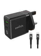 SWITCH DUAL OUTPUT PD 65W WITH USB TRAVEL CHARGER,  black