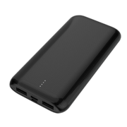 MYCANDY 10K MAH SLIM DUAL USB OUTPUT AND TYPE C INPUT/OUTPUT POWERBANK,  black