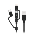 MYCANDY 3 IN 1 MICRO TYPE C MFI LIGHTNING CHARGE AND SYNC CABLE BLACK, 1.5m