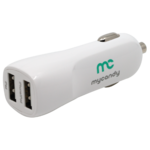 MYCANDY 3.4A DUAL USB CAR CHARGER WITH 1M MFI LIGHTNING WHITE