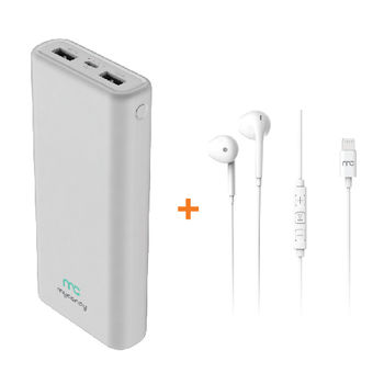 MYCANDY POWER BANK 20000MAH DUAL USB WHITE WITH WIRED STEREO HEADSET WSHF3 WITH LIGHTNING CONNECTOR WHITE