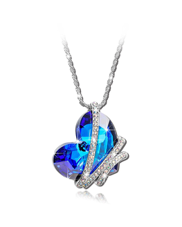 Sansar India Blue Crystal AB Valentine Heart Pendant Romantic Love Necklace for Girls and Women