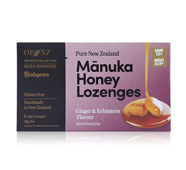Manuka Honey Lozenges - Ginger and Echinacea Flavour, 8 x 6g lozenges 48 g net wt