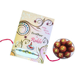 Dryfruit Laddoos with Rakhi and Greeting card