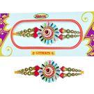 Round shape Rakhi with White Beads
