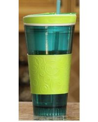 Snackeez Travel Cup Snack Drink in One Container Green/Blue