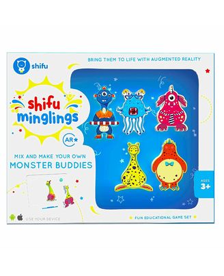 Shifu Minglings Monsters with Augmented Reality  Mix & Match Magnet Wooden Toys for Children Ages 3 and up  Fun Educational Game Set